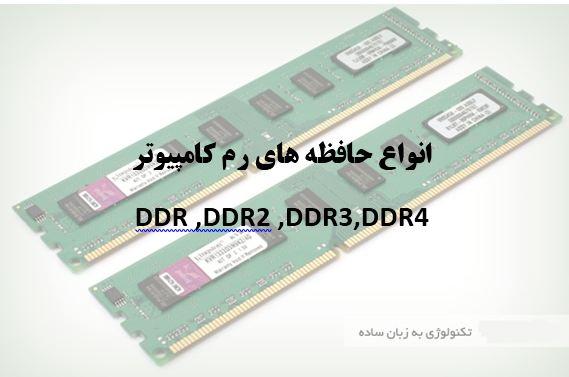 حافظه های رم کامپیوتر مدل DDR,DDR2,DDR3